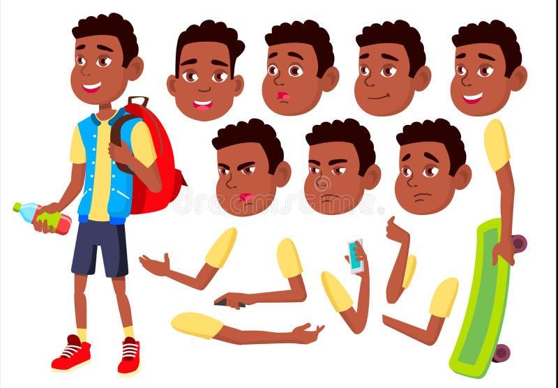 Ragazzo, bambino, bambino, vettore teenager Infanzia felice Afroamericano, il nero Emozioni del fronte, vari gesti Creazione di a illustrazione vettoriale