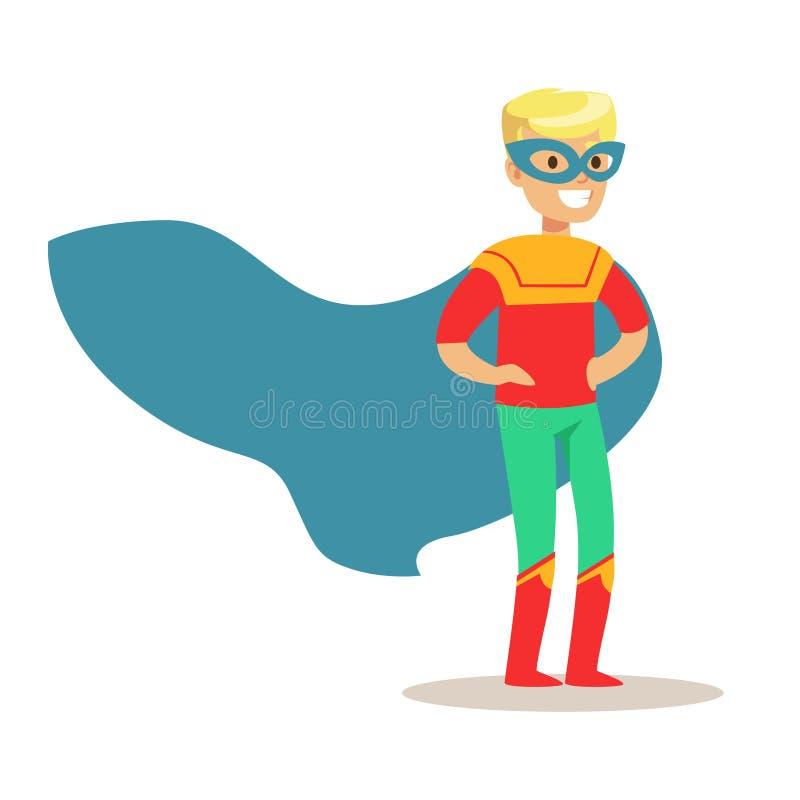 Ragazzo biondo che finge di avere superpotenze vestite in costume del supereroe con capo blu e di mascherare carattere sorridente illustrazione di stock