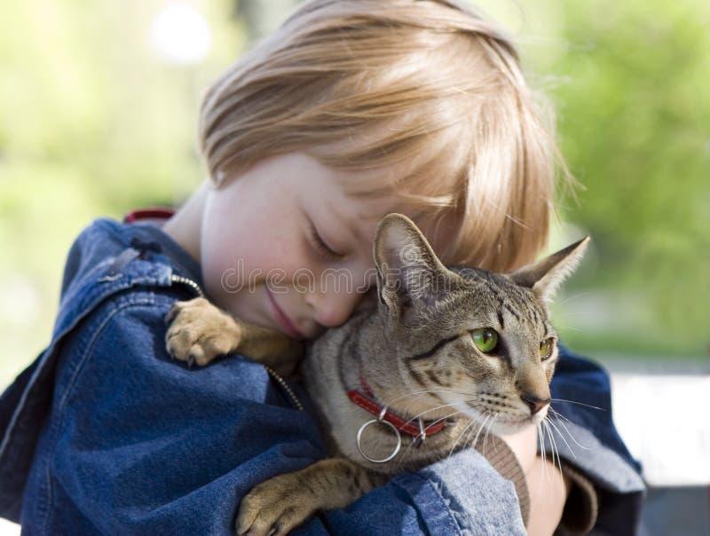 Ragazzo biondo con il gatto allevato orientale fotografia stock