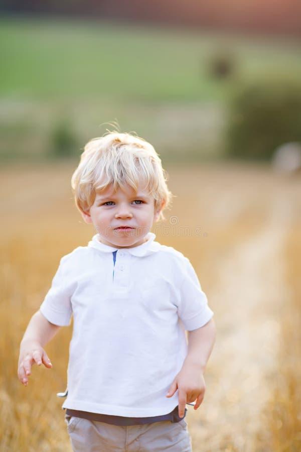 Ragazzo biondo felice del bambino che gode del tramonto nel giacimento di grano fotografia stock