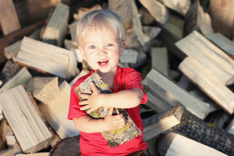 Ragazzo biondo sorridente sveglio del bambino con la tremula collegare il mucchio del fondo della legna da ardere Stile di vita d immagine stock libera da diritti