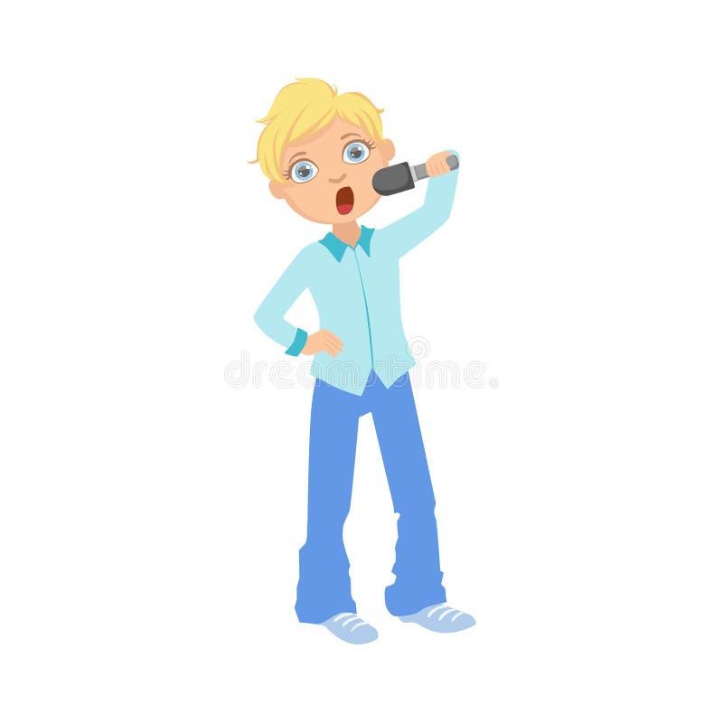 Ragazzo in canto blu dell'attrezzatura nel karaoke illustrazione di stock
