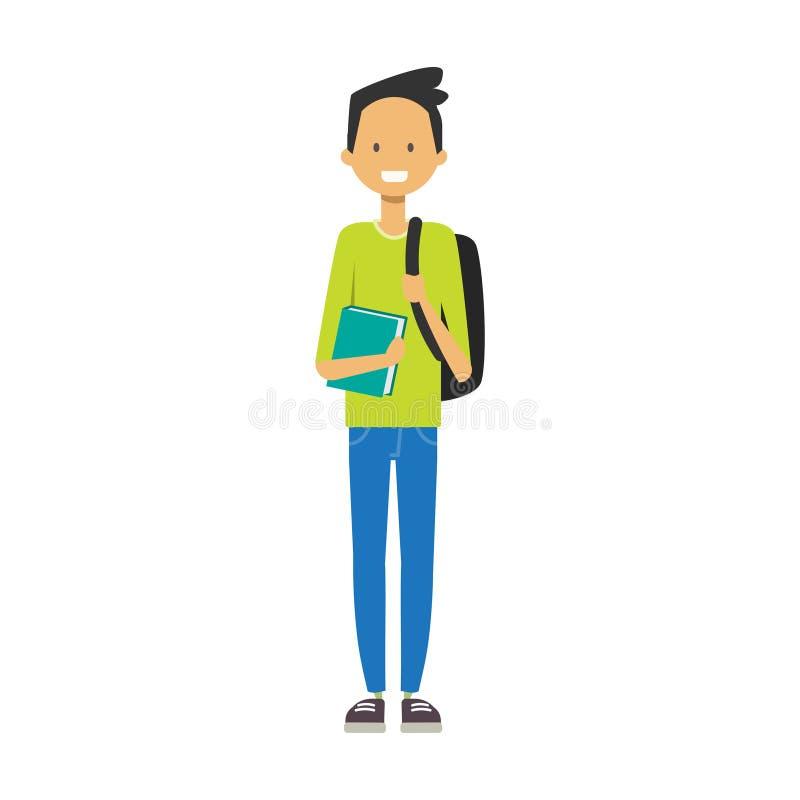 Ragazzo casuale con il libro della tenuta dello zaino, avatar integrale dello studente su antecedenti bianchi, riuscito concetto, royalty illustrazione gratis