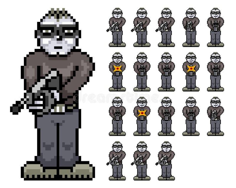Ragazzo cattivo - strato di Tommy Tombstone Retro Pixel Art Sprite royalty illustrazione gratis