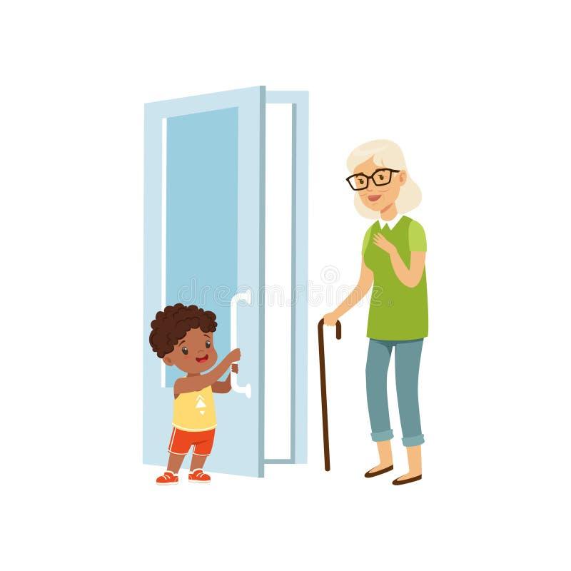 Ragazzo che apre la porta ad una donna anziana, illustrazione di vettore di concetto di buoni modi dei bambini su un fondo bianco royalty illustrazione gratis