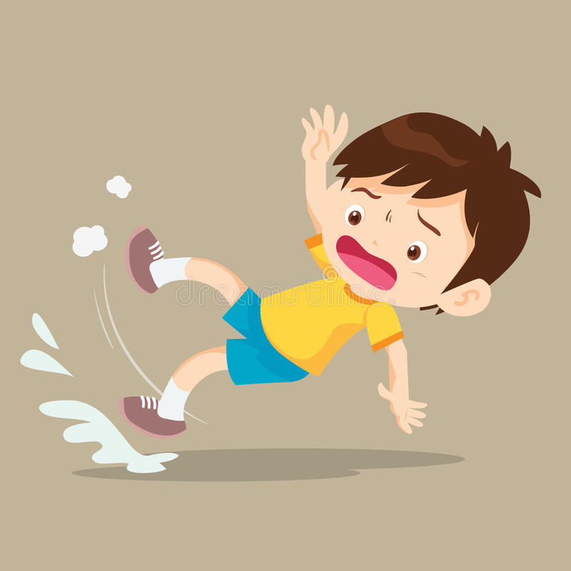 Ragazzo che cade sul pavimento bagnato royalty illustrazione gratis