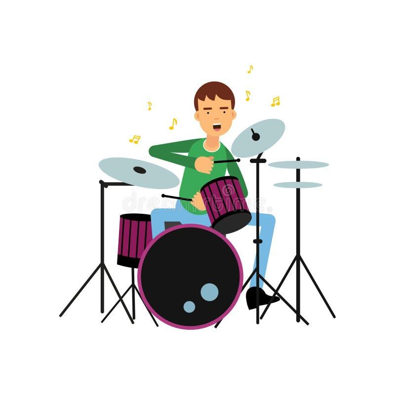 Ragazzo che gioca i tamburi Concetto creativo di professione o di hobby Musicista del giovane dell'artista Illustrazione piana di illustrazione vettoriale