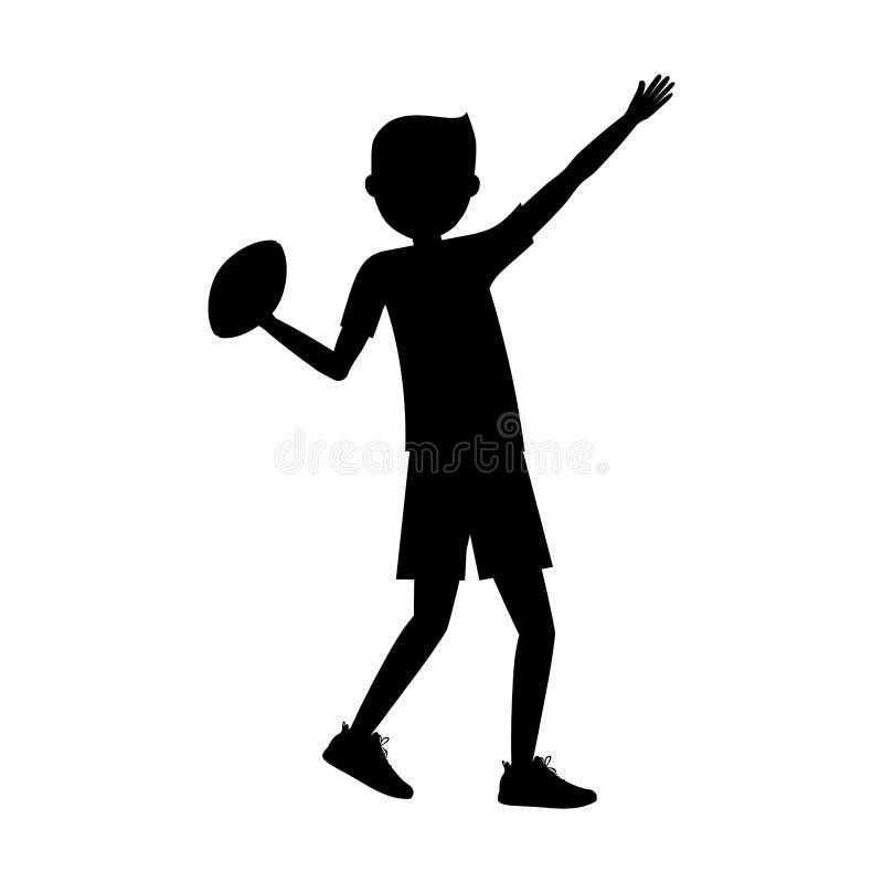Ragazzo che gioca progettazione di football americano illustrazione di stock