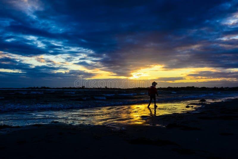 Download Ragazzo Che Gioca Sulla Spiaggia Al Tramonto Immagine Stock - Immagine di mano, gioia: 56887769