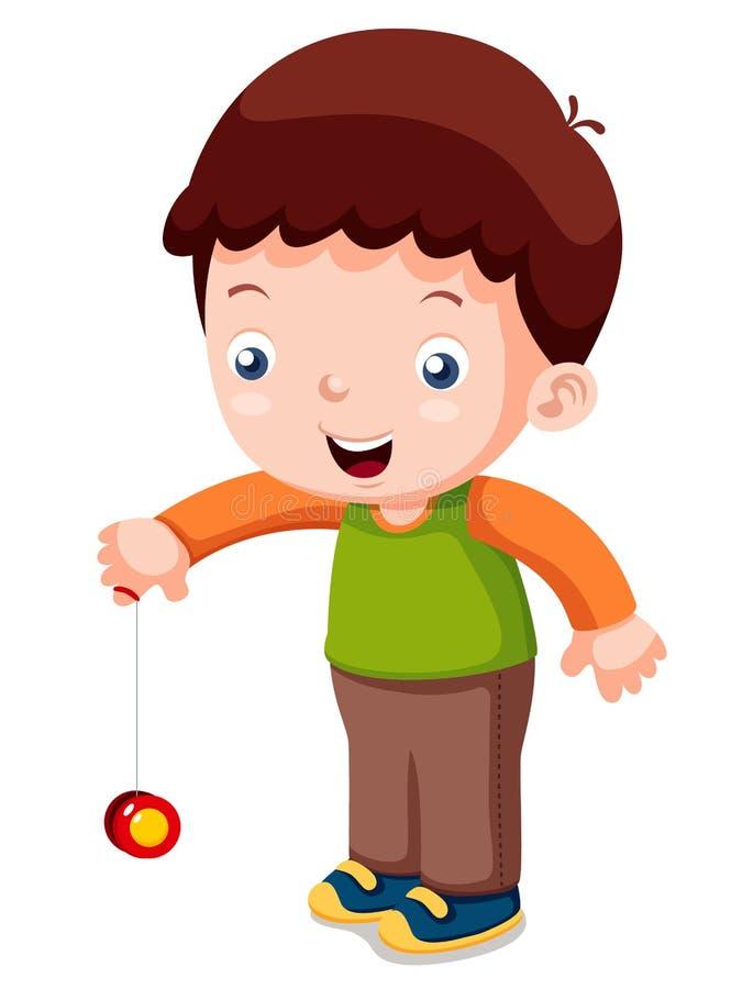 Ragazzo che gioca yo-yo illustrazione di stock