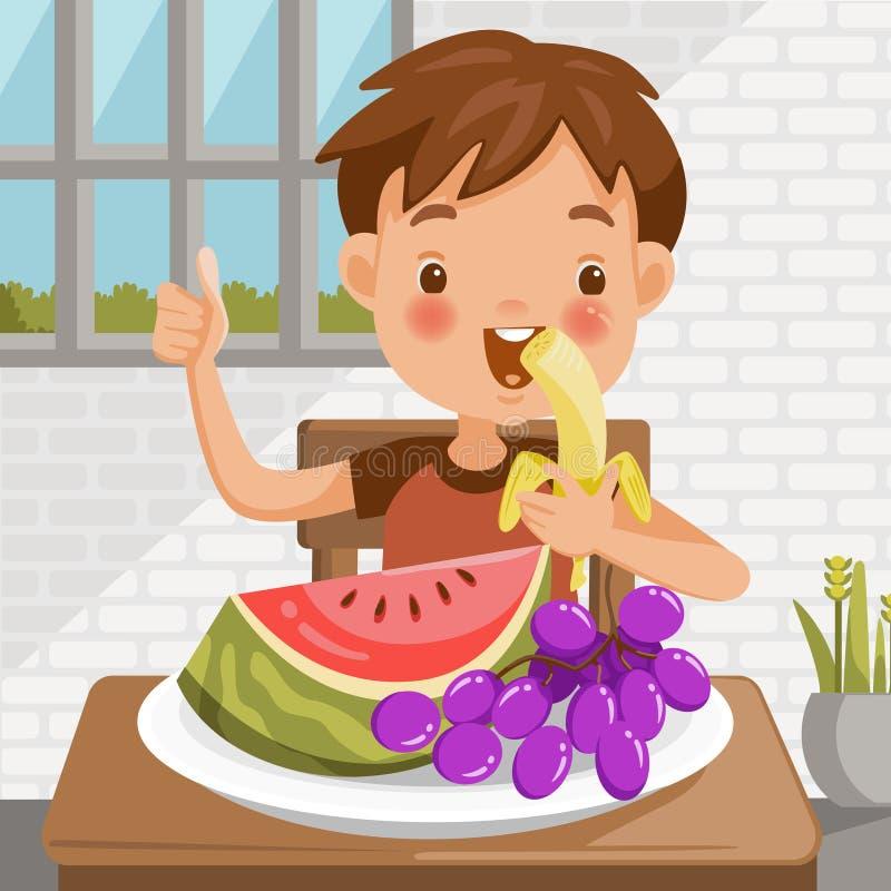 Ragazzo che mangia frutta illustrazione vettoriale