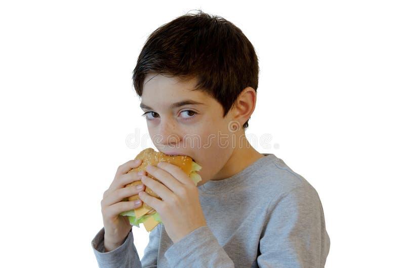 Ragazzo che mangia un hamburger fotografia stock