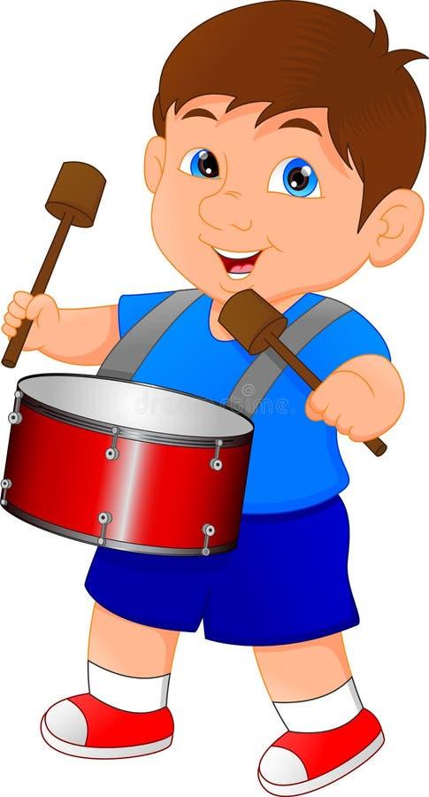 Ragazzo che marcia con un tamburo illustrazione vettoriale