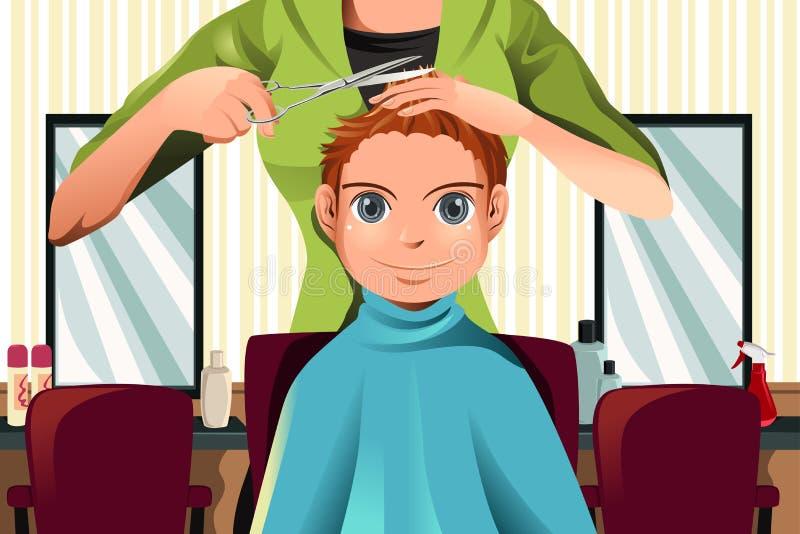 Ragazzo che ottiene un taglio di capelli royalty illustrazione gratis
