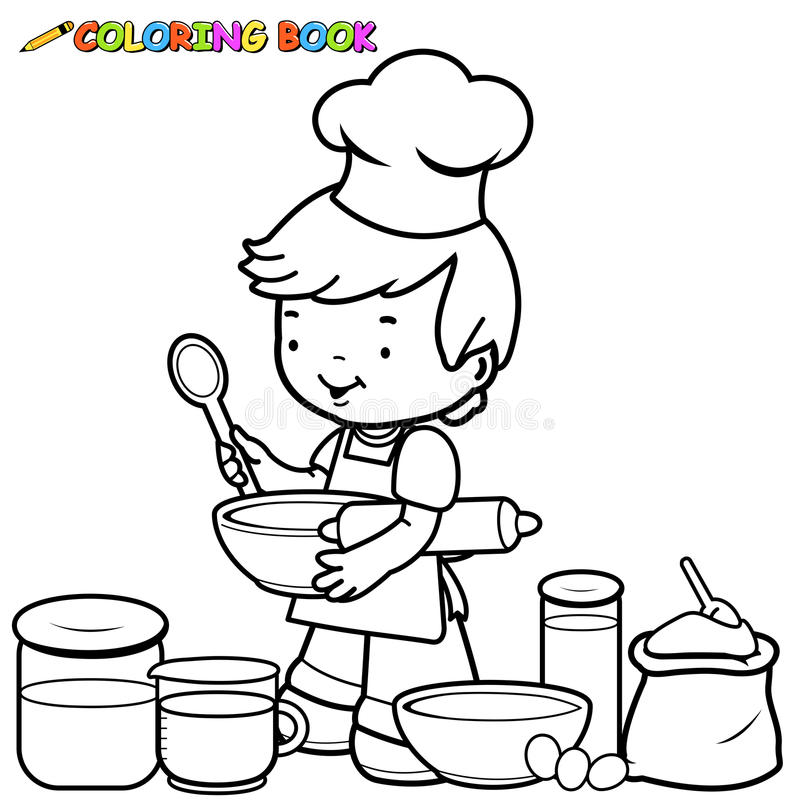 Ragazzo che prepara cucinare la pagina di coloritura illustrazione di stock