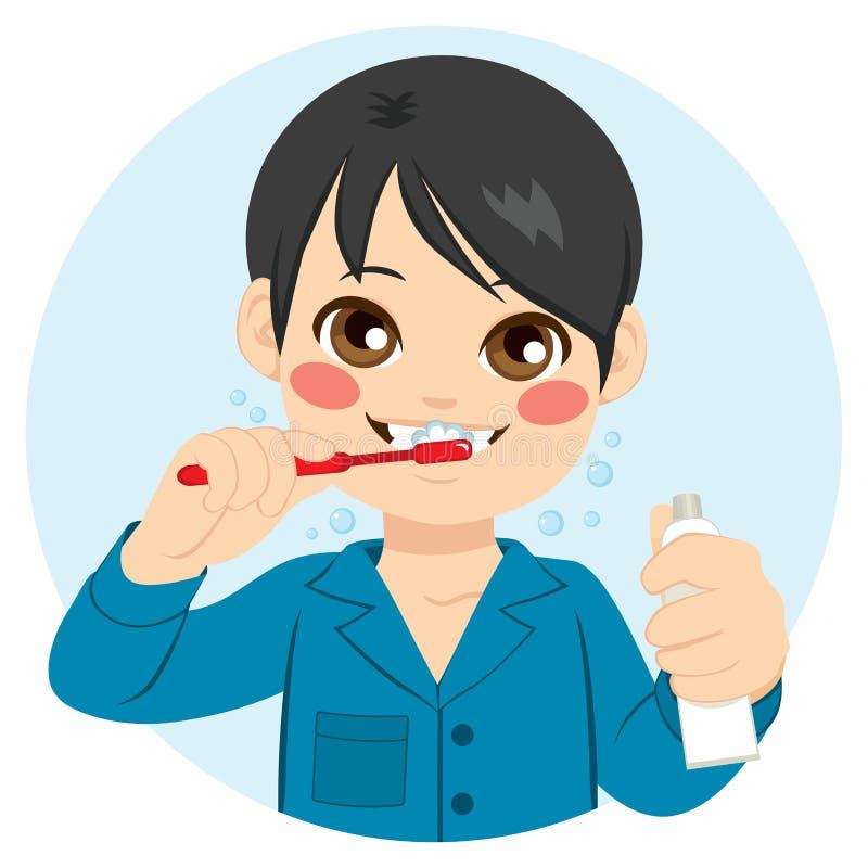 Ragazzo che pulisce i suoi denti royalty illustrazione gratis