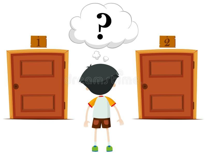 Ragazzo che sceglie le porte fra una e due illustrazione di stock