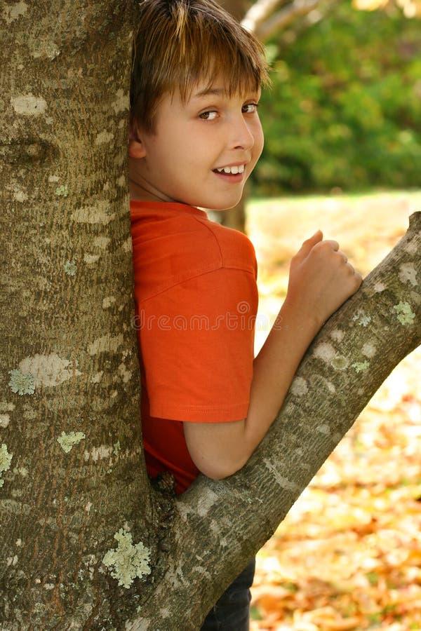 Ragazzo che si appoggia contro un albero immagini stock libere da diritti