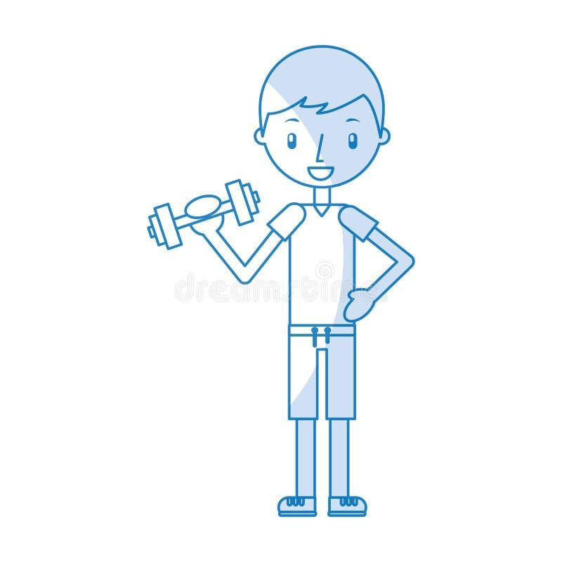 Ragazzo che si esercita con i dumbells royalty illustrazione gratis
