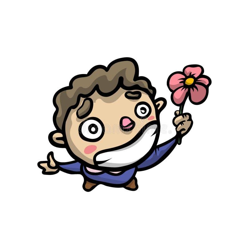 Ragazzo colpito sveglio con il grande fiore della presa di sorriso illustrazione di stock