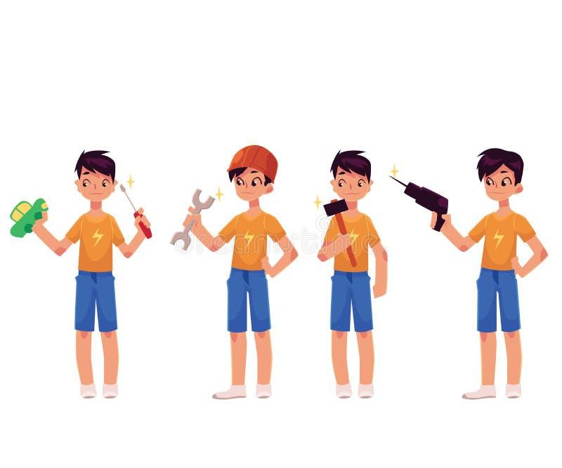 Ragazzo come meccanico, cacciavite della tenuta del riparatore, martello, trapano, chiave illustrazione vettoriale