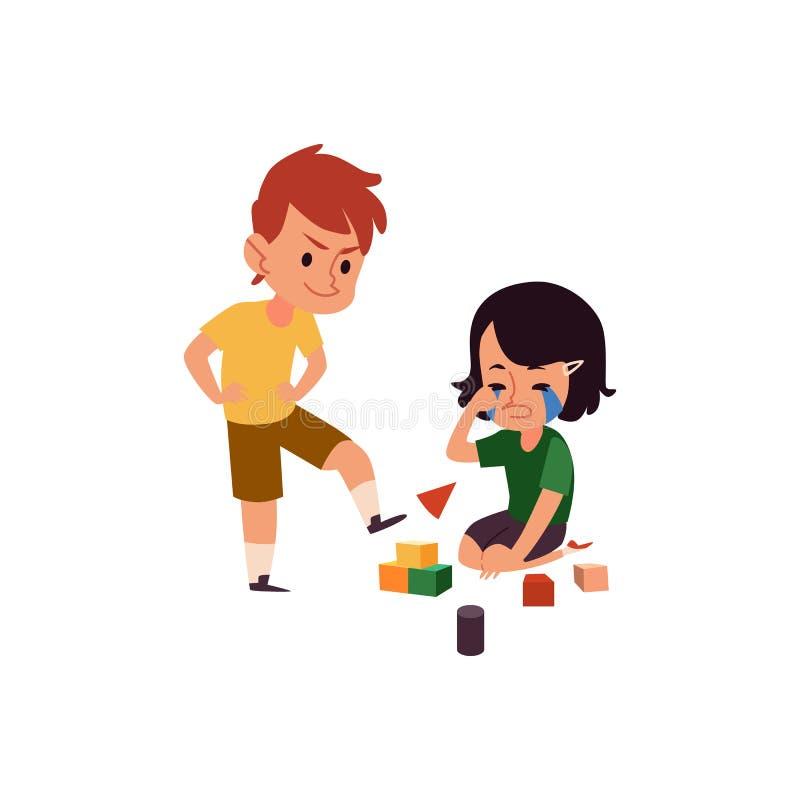 Ragazzo con cattivo comportamento che opprime gridando ragazza, bambino del fumetto che dà dei calci ai cubi del giocattolo di su illustrazione vettoriale