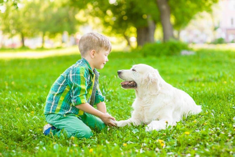 Ragazzo con il cane su erba verde fotografia stock