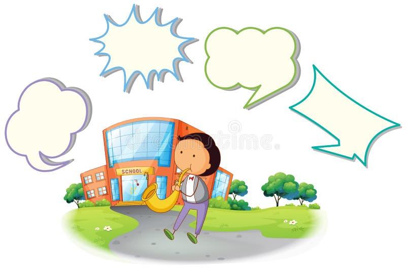 Ragazzo con il fumetto del sassofono illustrazione di stock