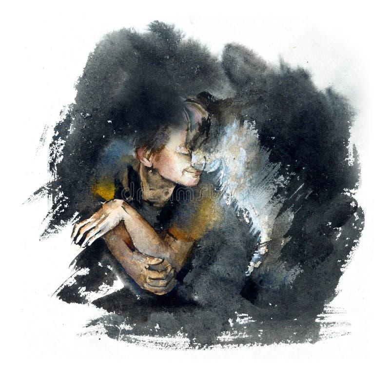 Ragazzo con il gatto playful Illustrazione dipinta a mano dell'acquerello illustrazione vettoriale