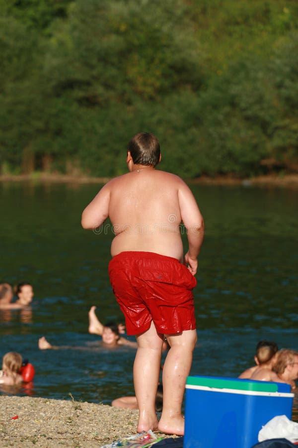 Ragazzo con il problema di obesità fotografia stock