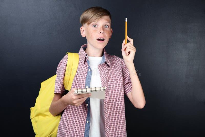 Ragazzo con il taccuino e la penna fotografia stock