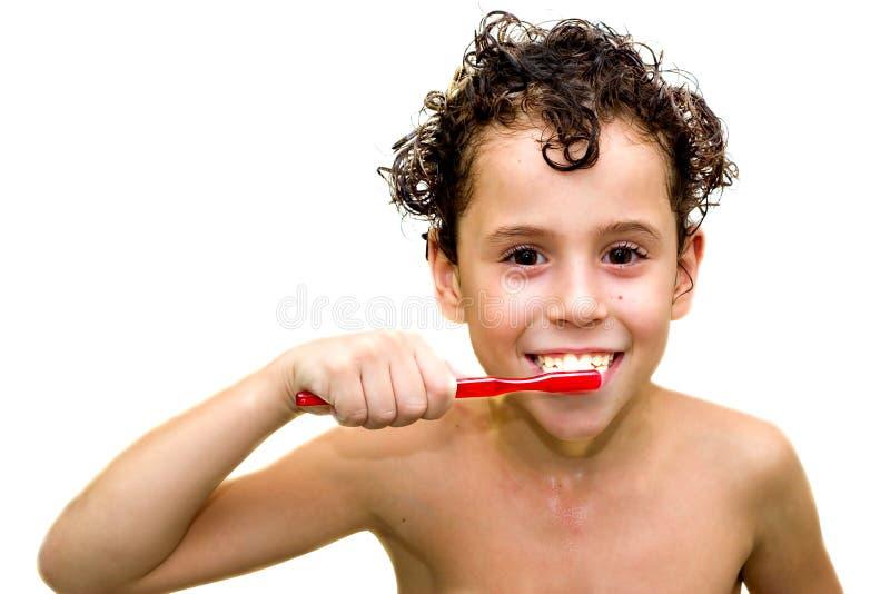 Ragazzo con il toothbrush (isolato) fotografia stock libera da diritti