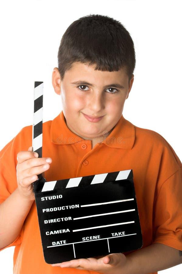 Ragazzo con l'ardesia della pellicola immagine stock libera da diritti