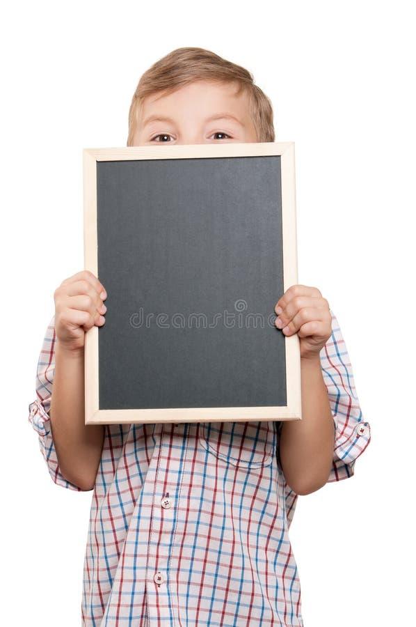 Ragazzo con la lavagna fotografia stock