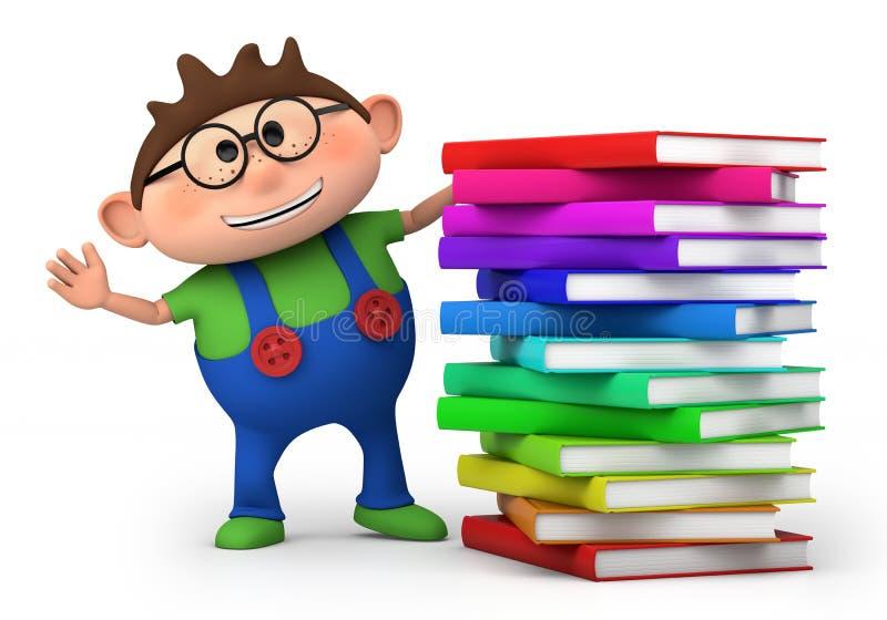 Ragazzo con la pila di libri illustrazione vettoriale