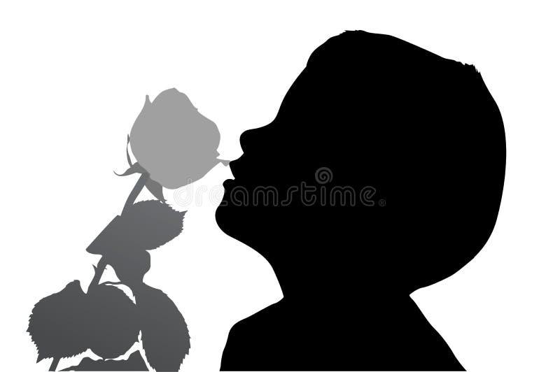 Ragazzo con la siluetta di rosa royalty illustrazione gratis