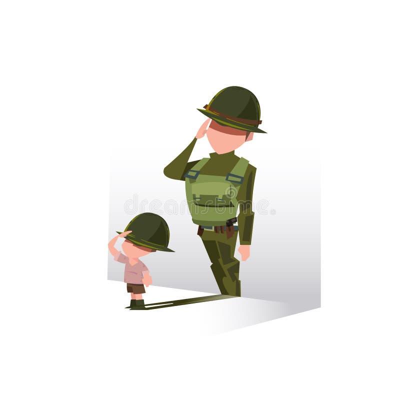 Ragazzo con la sua ombra come soldato Carriera futura che sogna conept, S royalty illustrazione gratis
