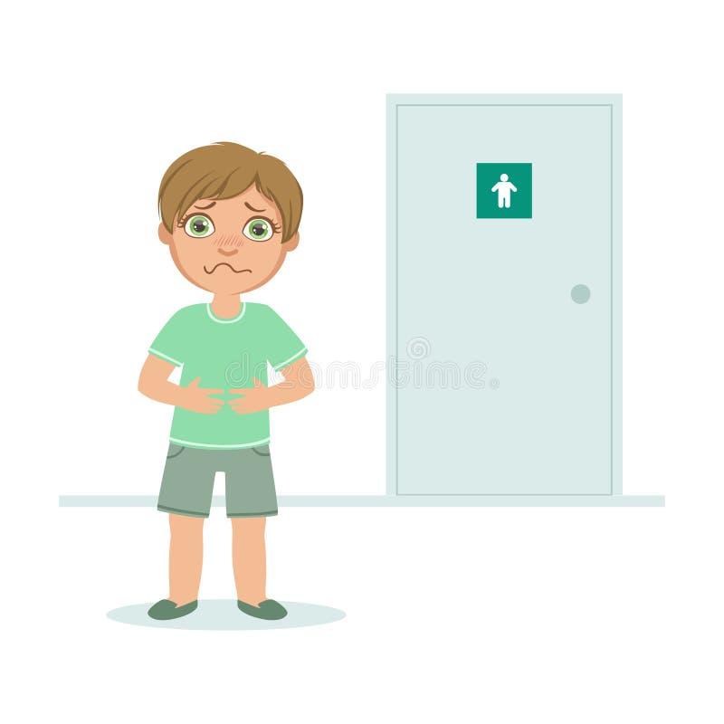Ragazzo con la vescica piena che vuole orinare, condizione del bambino davanti all'illustrazione di vettore della porta del WC illustrazione vettoriale