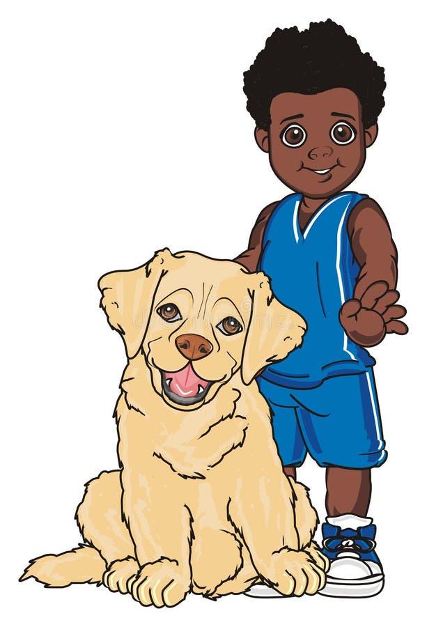 Ragazzo con un cane illustrazione di stock