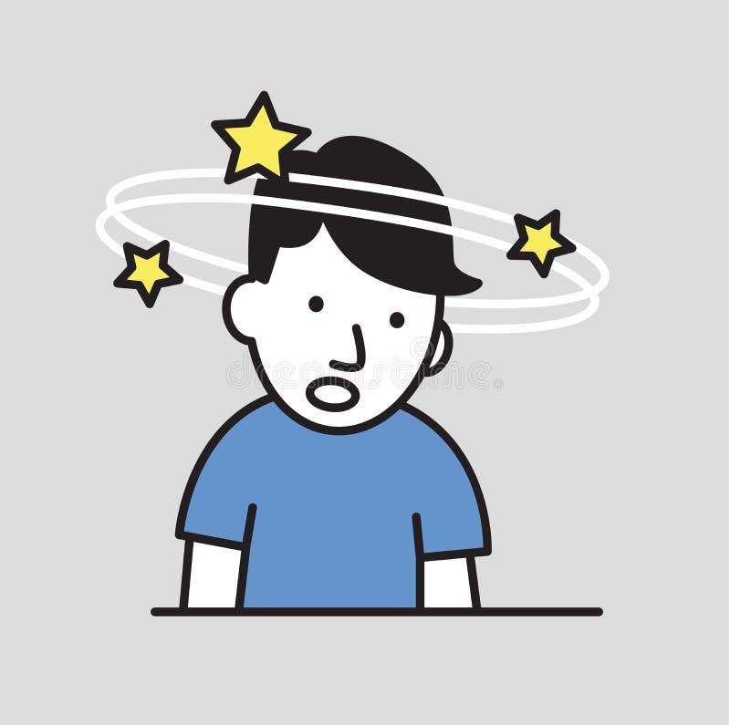 Ragazzo confuso che vede le stelle di filatura Perdita di icona piana di progettazione di coscienza Illustrazione piana di vettor illustrazione di stock