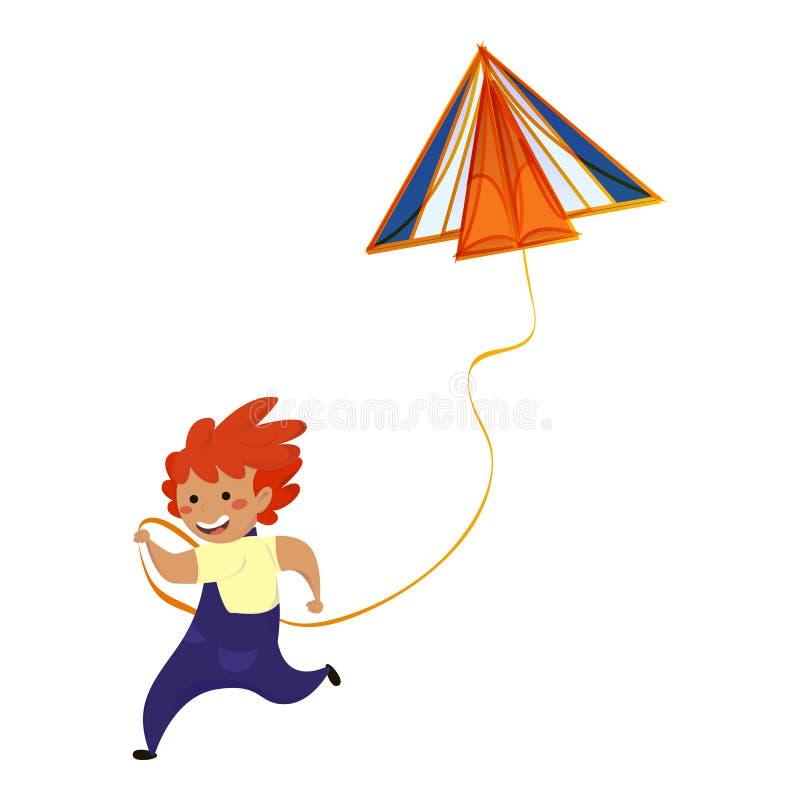 Ragazzo in corsa con l'icona dell'aquilone, stile fumetti illustrazione di stock