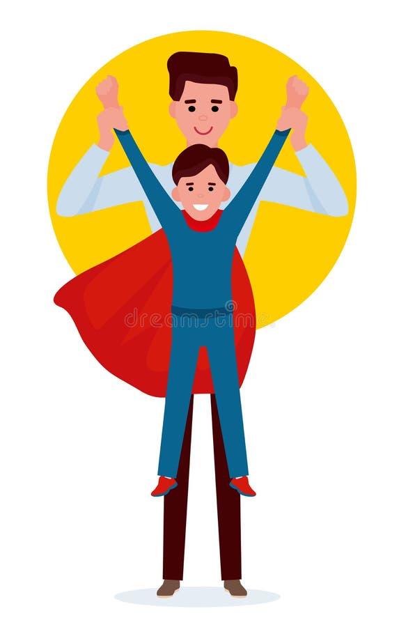 Ragazzo del bambino che gioca superman con il padre Illustrazione piana di vettore del fumetto su fondo bianco royalty illustrazione gratis