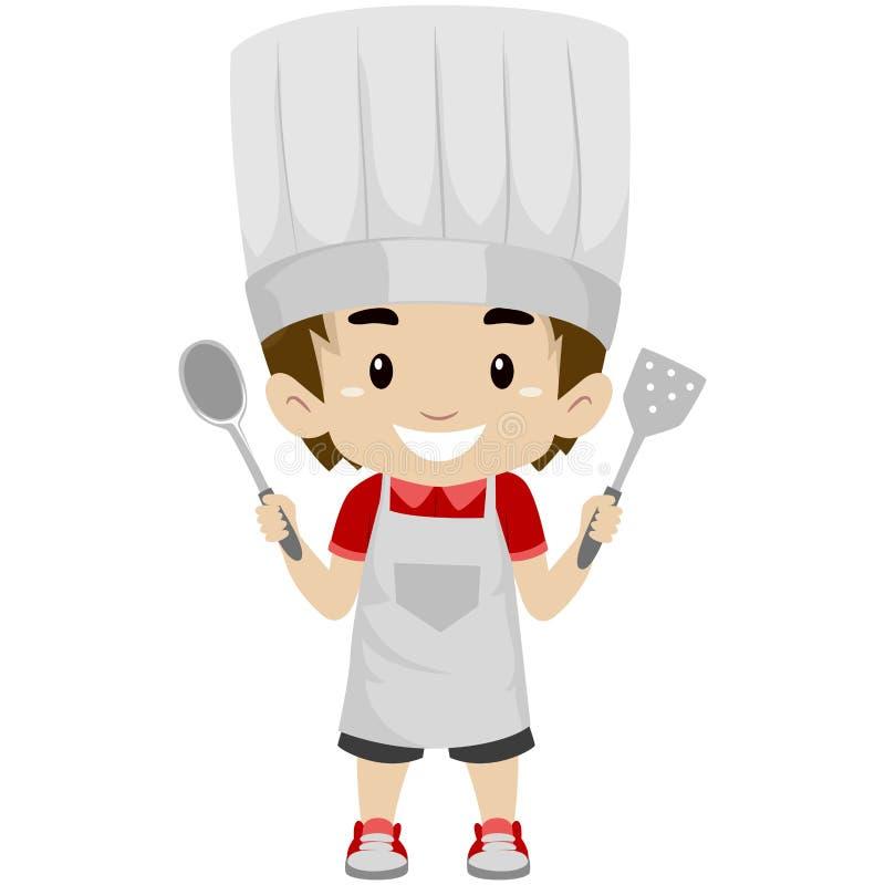Ragazzo del bambino come cuoco unico Holding utensili di una cucina della tenuta illustrazione vettoriale