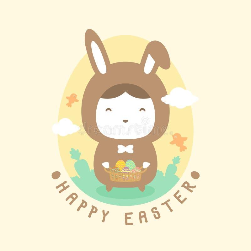 Ragazzo del coniglio di Pasqua che tiene il canestro variopinto dell'uovo di Pasqua royalty illustrazione gratis