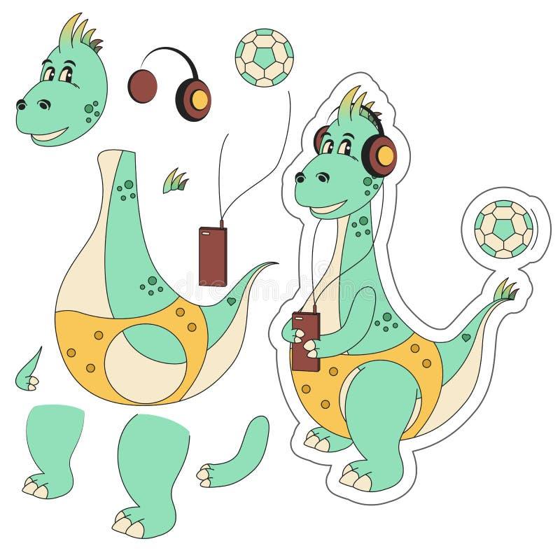 Ragazzo del dinosauro per l'animazione nelle parti nello stile piana fotografia stock libera da diritti
