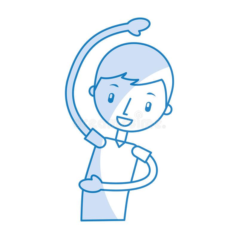 Ragazzo del fumetto che allunga su illustrazione vettoriale