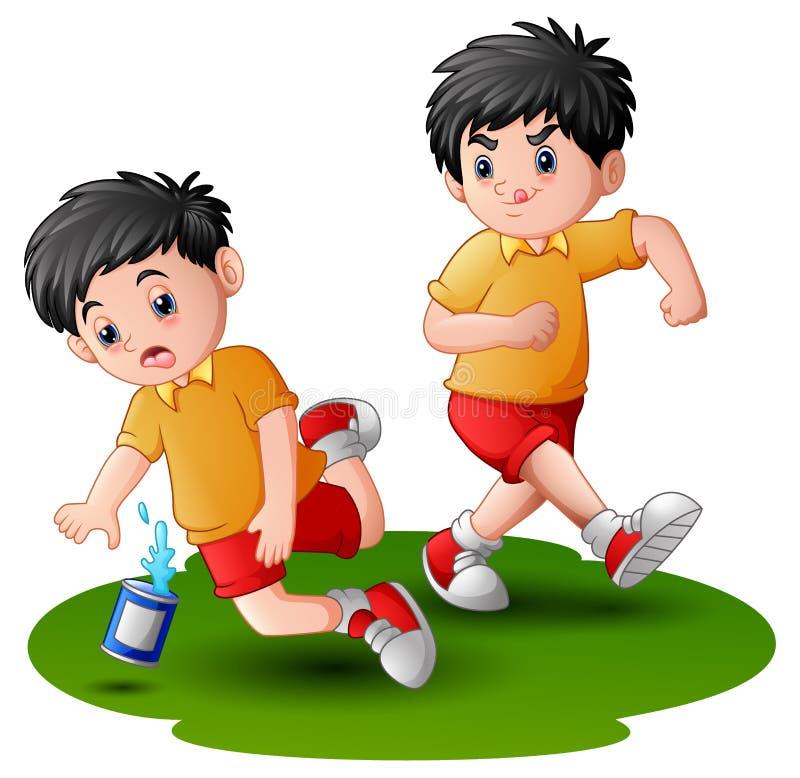 Ragazzo del fumetto che dà dei calci ad altri gamba del bambino illustrazione vettoriale