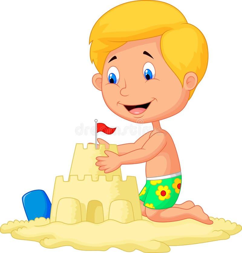 Ragazzo del fumetto che fa il castello della sabbia illustrazione vettoriale