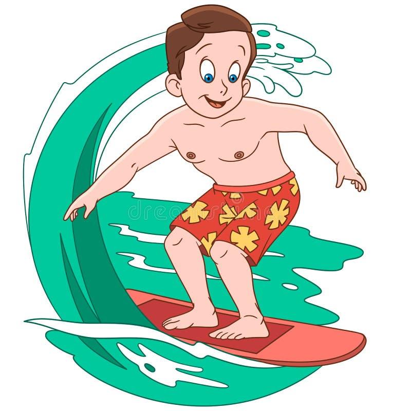 Ragazzo del fumetto che pratica il surfing sulle onde illustrazione di stock