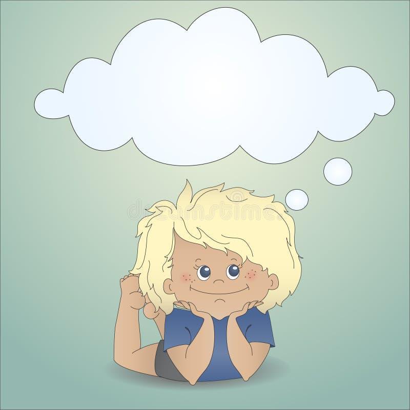 Ragazzo del fumetto che sogna con una bolla di pensiero illustrazione vettoriale